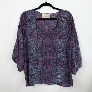 Rory Becca | Boho Peasant Flowy Silk Top